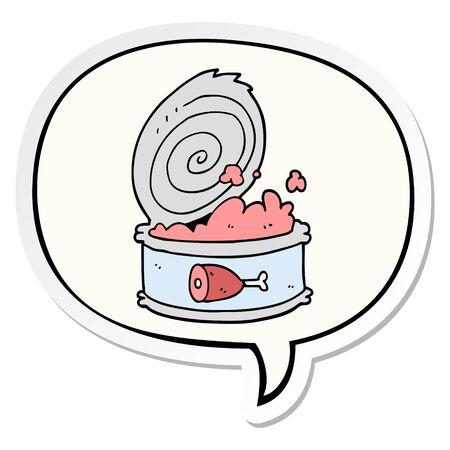 cartoon canned food with speech bubble sticker 일러스트