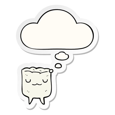cartoon tooth with thought bubble as a printed sticker Ilustração