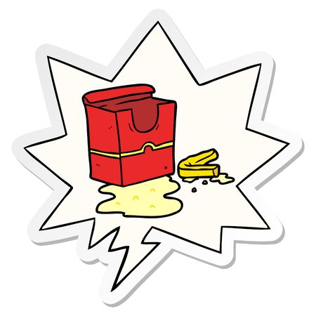 cartoon empty box of fries with speech bubble sticker