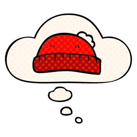 cartoon woolly hat with thought bubble in comic book style Stock fotó - 129525775