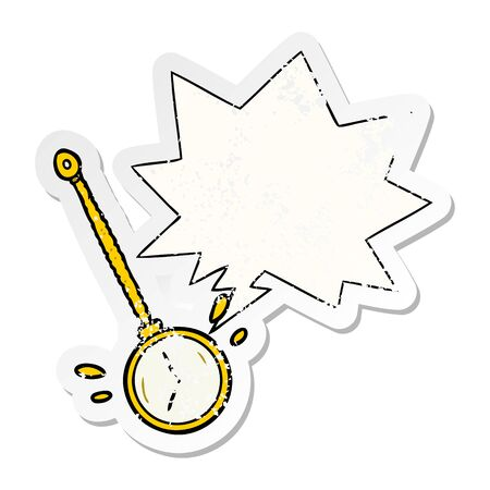 cartoon swinging gold hypnotist watch with speech bubble distressed distressed old sticker Illustration