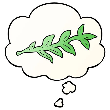 cartoon plant with thought bubble in smooth gradient style Imagens - 129525820