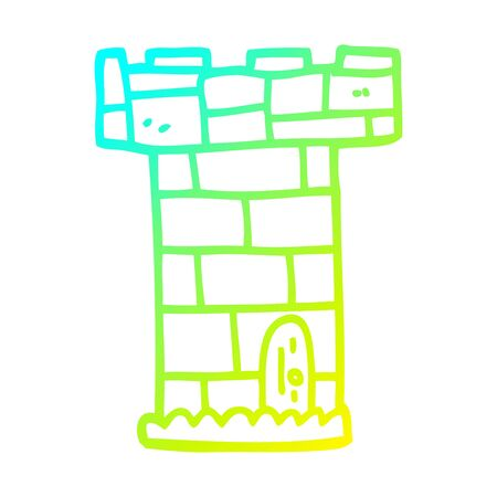 cold gradient line drawing of a cartoon castle tower