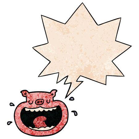 dessin animé cochon odieux avec bulle de dialogue dans un style de texture rétro