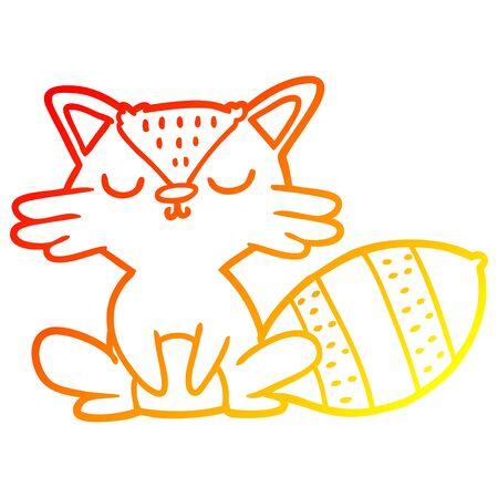 warm gradient line drawing of a cute cartoon raccoon Illustration