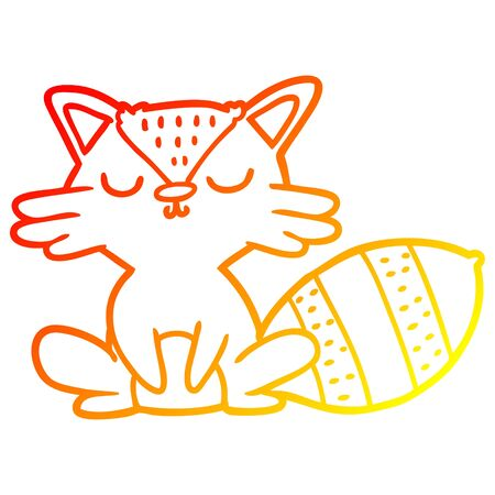 warm gradient line drawing of a cute cartoon raccoon Banque d'images - 129525897