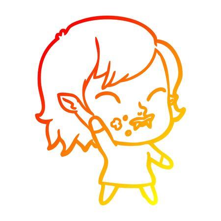 warm gradient line drawing of a cartoon vampire girl with blood on cheek Banco de Imagens - 129525902