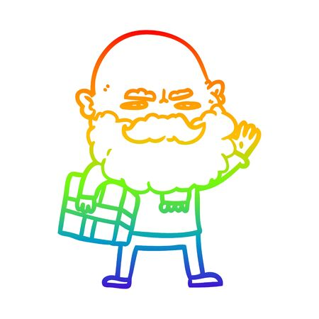 rainbow gradient line drawing of a cartoon man with beard frowning with xmas gift