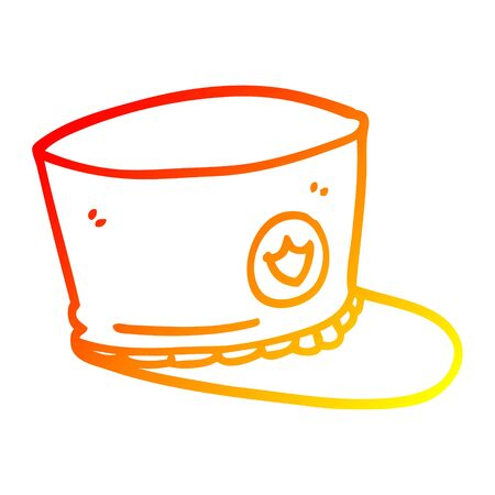 warm gradient line drawing of a cartoon official hat