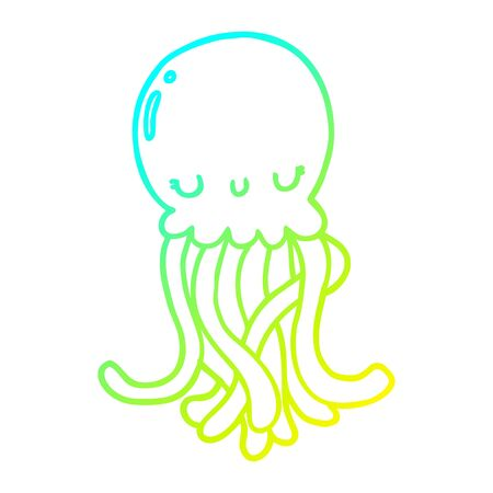 cold gradient line drawing of a cute cartoon jellyfish 向量圖像