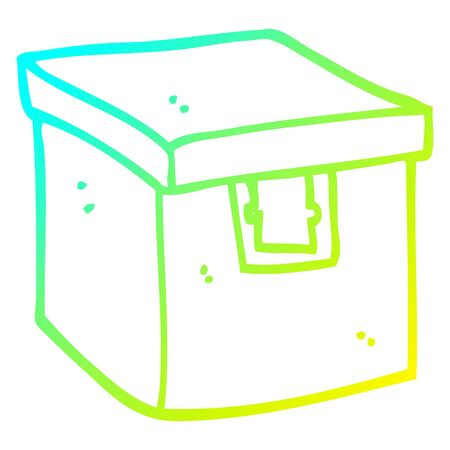 cold gradient line drawing of a cartoon evidence box