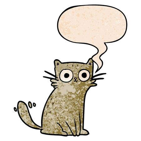 cartoon staring cat with speech bubble in retro texture style