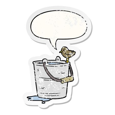 cartoon bird looking into bucket of water with speech bubble distressed distressed old sticker