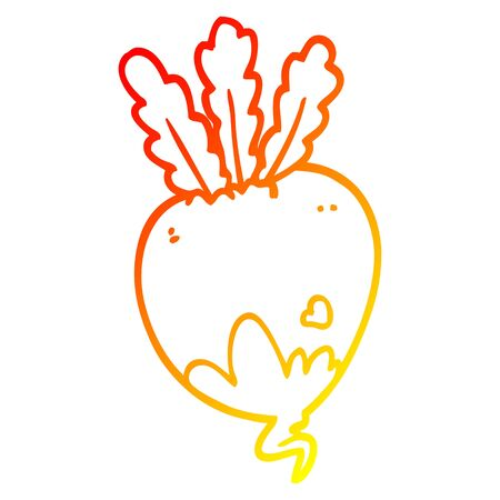 warm gradient line drawing of a cartoon beet root Illustration