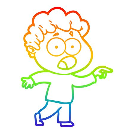 rainbow gradient line drawing of a cartoon man gasping in surprise Banco de Imagens - 129526384