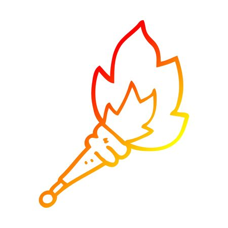 warm gradient line drawing of a cartoon flaming torch Stock fotó - 129526371