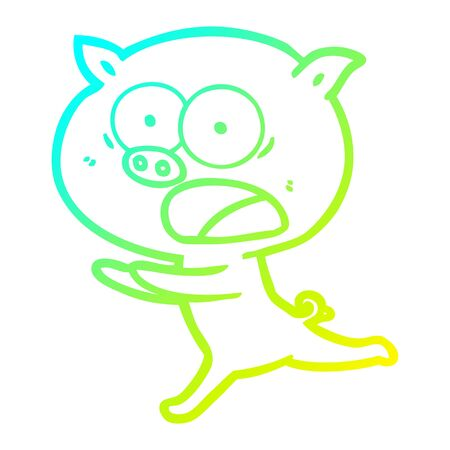 cold gradient line drawing of a cartoon pig running