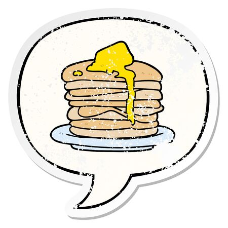 cartoon stack of pancakes with speech bubble distressed distressed old sticker