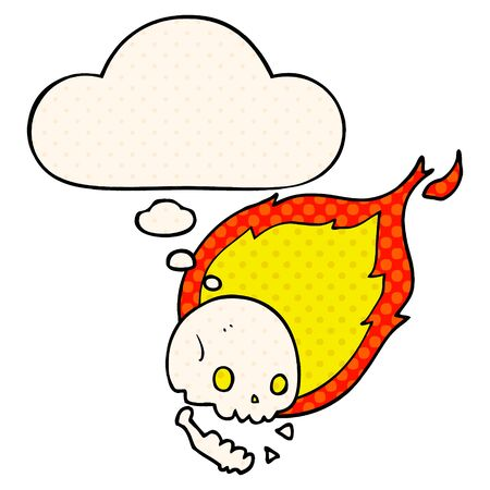spooky cartoon flaming skull with thought bubble in comic book style Stock fotó - 129526194