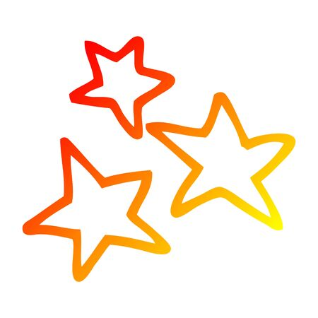 warm gradient line drawing of a cartoon star