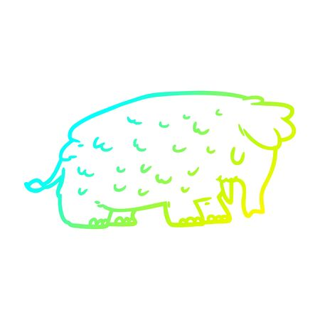 cold gradient line drawing of a cartoon mammoth 스톡 콘텐츠 - 129526212
