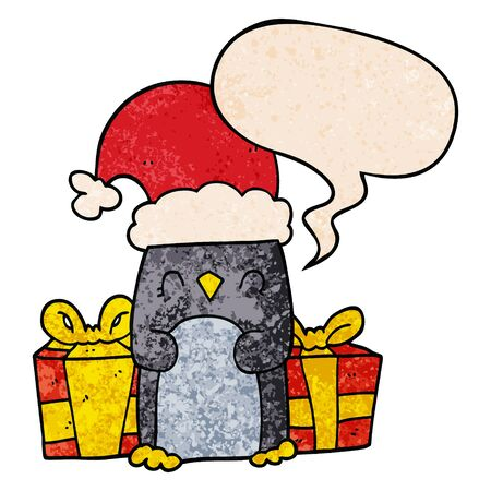 cute christmas penguin with speech bubble in retro texture style