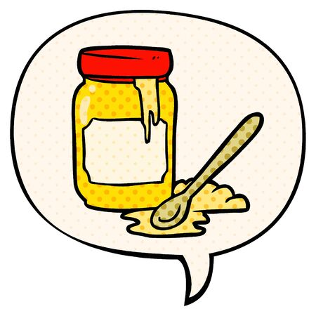 cartoon jar of honey with speech bubble in comic book style  イラスト・ベクター素材