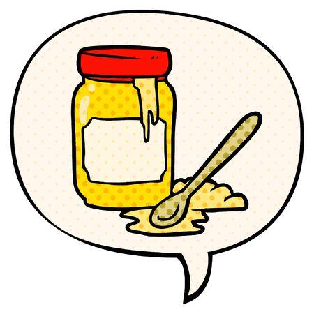 cartoon jar of honey with speech bubble in comic book style Çizim
