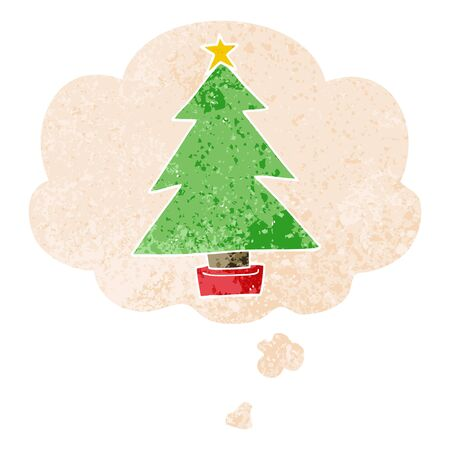 cartoon christmas tree with thought bubble in grunge distressed retro textured style