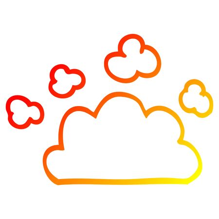warm gradient line drawing of a cartoon weather cloud