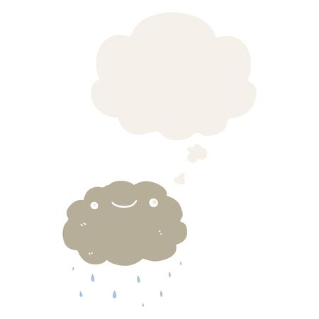 cartoon cloud with thought bubble in retro style Ilustração