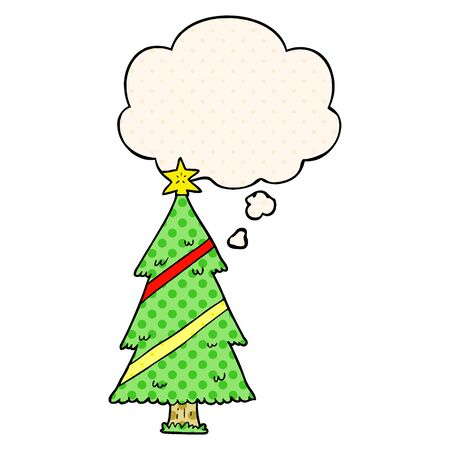 cartoon christmas tree with thought bubble in comic book style Illustration