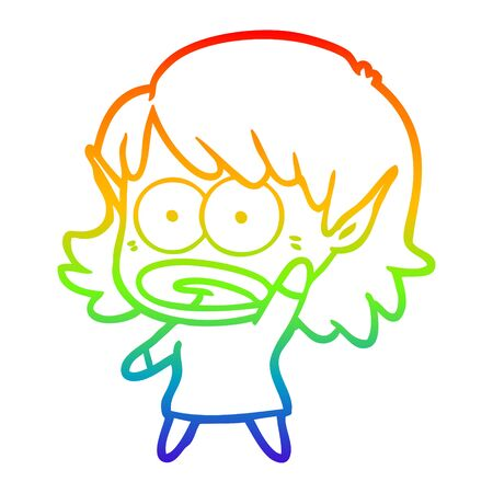 rainbow gradient line drawing of a cartoon shocked elf girl 向量圖像