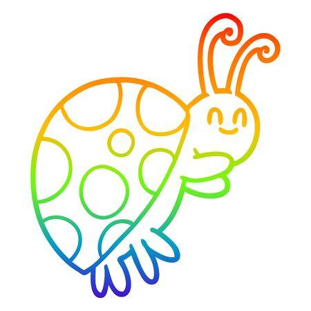 rainbow gradient line drawing of a cute cartoon ladybug Ilustracja