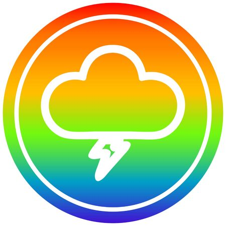 storm cloud circular icon with rainbow gradient finish