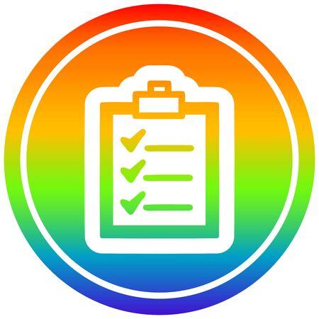 check list circular icon with rainbow gradient finish