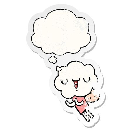 cute cartoon cloud head creature with thought bubble as a distressed worn sticker