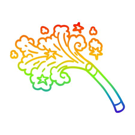 rainbow gradient line drawing of a cartoon magic trick 版權商用圖片 - 129526500
