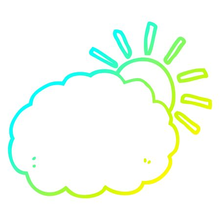 cold gradient line drawing of a cartoon sun and cloud symbol Banque d'images - 129526482