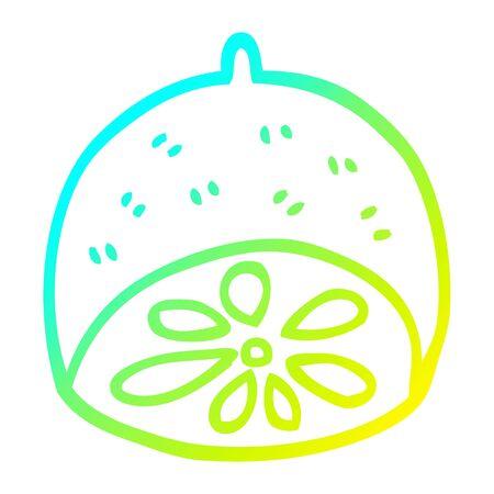 cold gradient line drawing of a cartoon lemon fruit