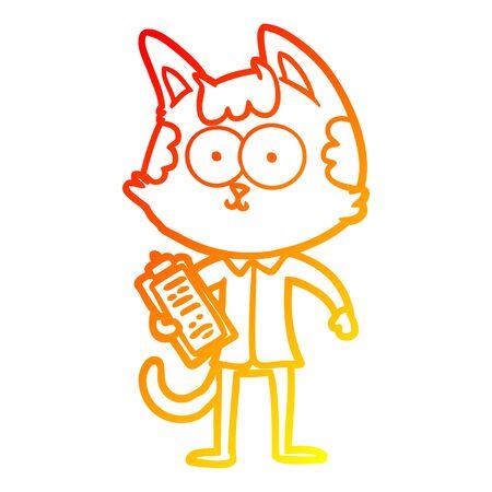 warm gradient line drawing of a happy cartoon salesman cat  イラスト・ベクター素材