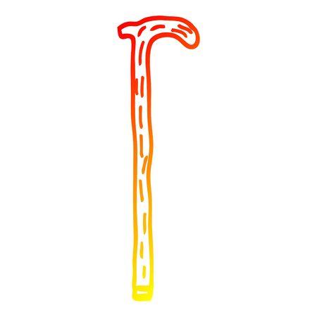 warm gradient line drawing of a cartoon walking stick