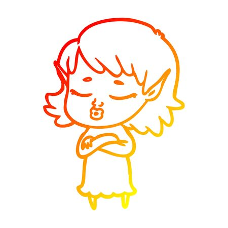 warm gradient line drawing of a pretty cartoon elf girl with corssed arms