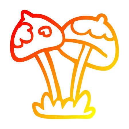 warm gradient line drawing of a cartoon mushroom  イラスト・ベクター素材