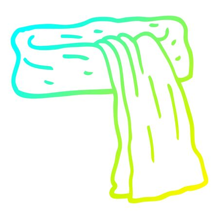 cold gradient line drawing of a cartoon scarf  イラスト・ベクター素材