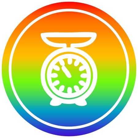 weighing scales circular icon with rainbow gradient finish 向量圖像