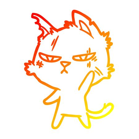 warm gradient line drawing of a tough cartoon cat