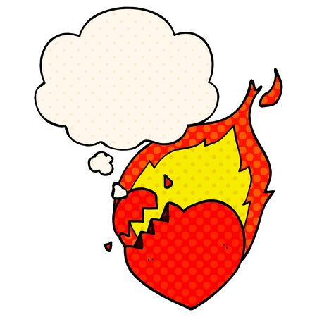 cartoon flaming heart with thought bubble in comic book style Standard-Bild - 129526813