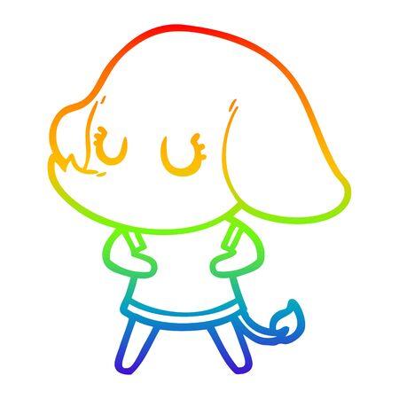 rainbow gradient line drawing of a cute cartoon elephant