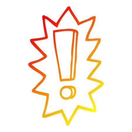 warm gradient line drawing of a cartoon exclamation mark Foto de archivo - 129526980